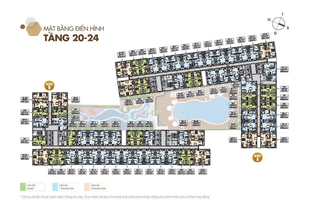 Mặt bằng chi tiết tầng 20 đến tầng 24 căn hộ Legacy Central